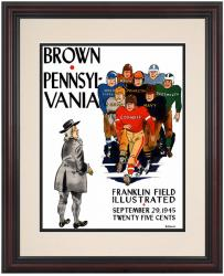 1945 Penn Quakers vs Brown Bears 8.5'' x 11'' Framed Historic Football Poster - Mounted Memories