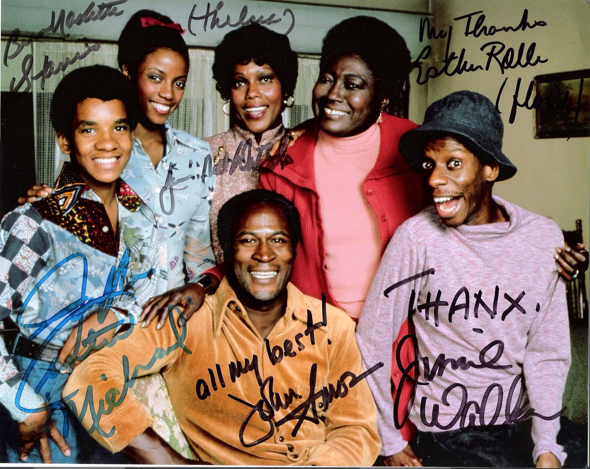 "GOOD TIMES"" Signed by 6=JIMMIE WALKER-ESTHER ROLLE-JOHN AMOS-RALPH CARTER-JA'NET DUBOIS-BERN NADETTE STANIS 10x8 Color Photo"