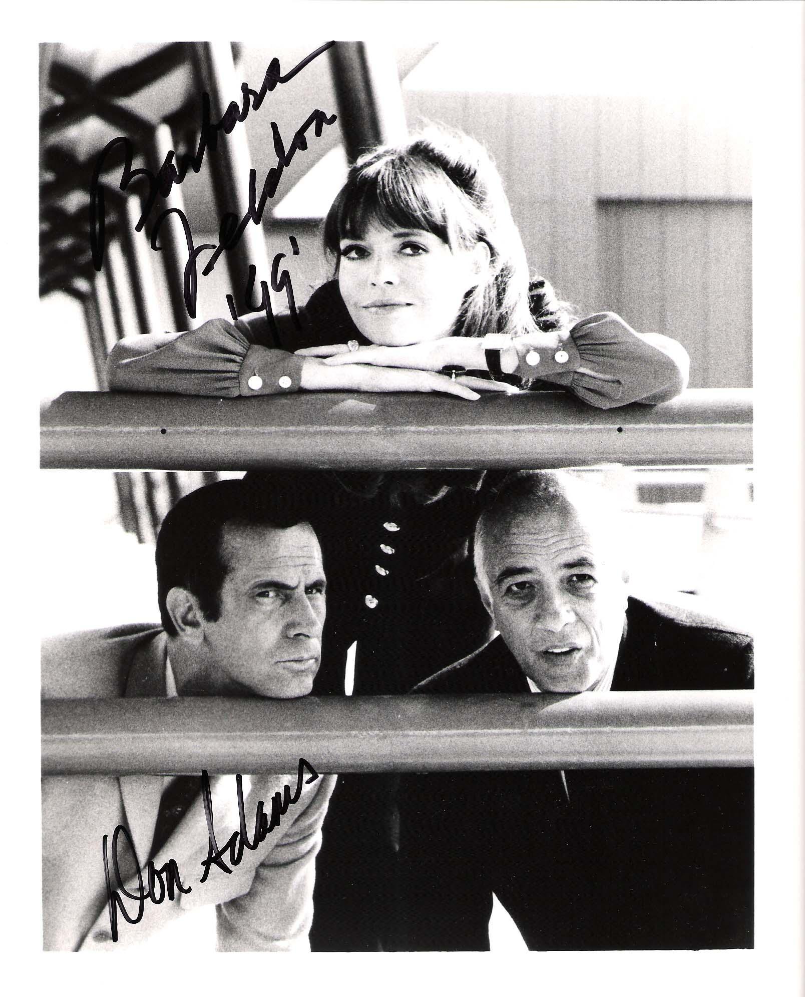 Autographed Don Adams Photograph - MAXWELL SMART) & BARBARA FELDON AGENT 99 Both 8x10 B W