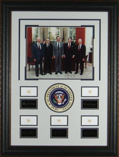 The Five Presidents - Laser Engraved Signature Framed Displa