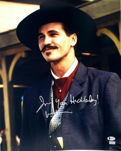"""VAL KILMER Signed Autographed TOMBSTONE """"I'm Your Huckleberry"""" 16x20 Photo BAS"""