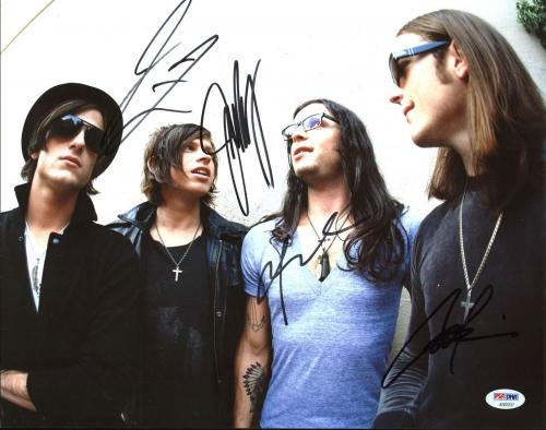 Kings Of Leon (Caleb, Nathan, Jared, Matthew) Signed 11X14 Photo PSA #AB03337