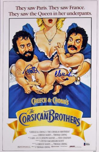 Cheech Marin & Tommy Chong The Corsican Brothers Signed 12x18 Poster BAS #B18201