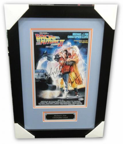 Michael J Fox Christopher Lloyd Signed Auto 12x18 Photo Back to the Future BAS