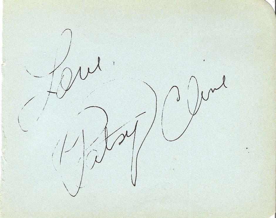 PATSY CLINE (COUNTRY MUSIC STAR) Passed Away 1963 in Plane Crash = Signed 5x4 Index Card