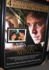 A Beautiful Mind - Russell Crowe and Jennifer Connelly Dual Autographed 8x10 Photo ~ Custom Framed into the Movie Poster