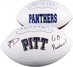 Aaron Donald Pittsburgh Panthers Autographed White Panel Football with Go Panthers Inscription