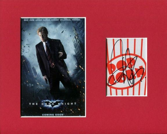 Aaron Eckhart Batman The Dark Knight Two-Face Signed Autograph Photo Display