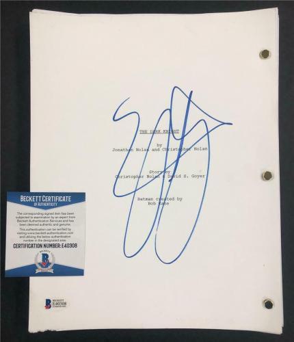 AARON ECKHART Harvey Dent signed THE DARK KNIGHT Movie Script ~ Beckett BAS COA