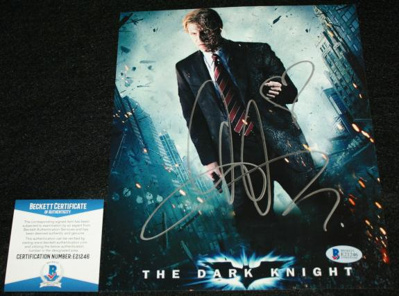 Aaron Eckhart signed 8 x 10, The Dark Knight, Harvey Dent, Beckett BAS