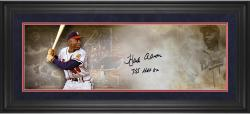 Hank Aaron Atlanta Braves Framed Autographed 10'' x 30'' Filmstrip Photograph with HOF 82 755 HRs Inscriptions - Mounted Memories