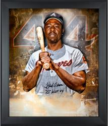 Hank Aaron Atlanta Braves Framed Autographed 20'' x 24'' In Focus Photograph with HOF 82 755 HRs Inscription - Mounted Memories