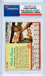Hank Aaron Milwaukee Braves 1962 Post #149 Card