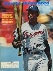 Hank Aaron Atlanta Braves Autographed 1969 Sports Illustrated Magazine - Mounted Memories