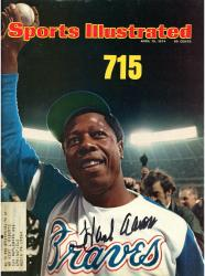 Hank Aaron Atlanta Braves Autographed 1974 Sports Illustrated Magazine - Mounted Memories