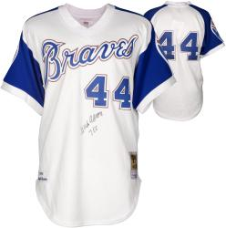 """Hank Aaron Autographed Braves Jersey with """"755"""" Inscription"""