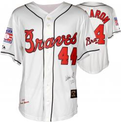 "Hank Aaron Autographed Braves Jersey with ""755 HR"" Inscription"