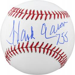 Hank Aaron Atlanta Braves Autographed Baseball with 755 HRS Inscription - Mounted Memories