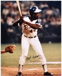 Hank Aaron Milwaukee Braves Autographed 16'' x 20'' Batting Photograph - Mounted Memories