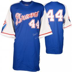 "Hank Aaron Autographed Braves Jersey with ""HOF 82"" Inscription"