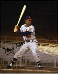 Hank Aaron Milwaukee Braves Autographed 8'' x 10'' Batting Photograph - Mounted Memories
