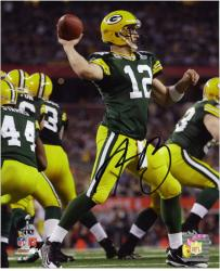 Aaron Rodgers Green Bay Packers Super Bowl XLV Autographed 8'' x 10'' Throwing Photograph - Mounted Memories
