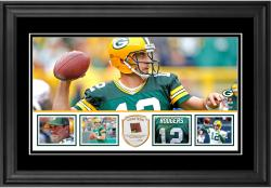 "Aaron Rodgers Green Bay Packers Framed 10"" x 18""  Panoramic with Piece of Game-Used Football - Limited Edition of 250"