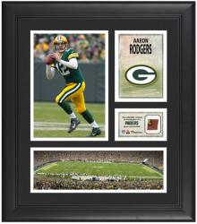 "Aaron Rodgers Green Bay Packers Framed 15"" x 17"" Collage with Game-Used Football"