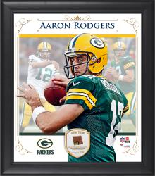 "Aaron Rodgers Green Bay Packers Framed 15"" x 17"" Composite Collage with Piece of Game-Used Football"