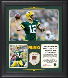 "Aaron Rodgers Green Bay Packers Franchise Passing Mark 15"" X 17"" Collage With Game-Used Football - Limited Edition of 250"