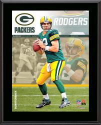 """Aaron Rodgers Green Bay Packers Sublimated 10.5"""" x 13"""" Composite Plaque"""