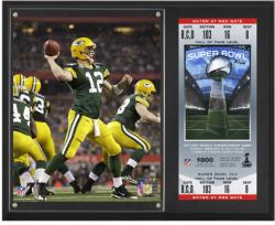 "Aaron Rodgers Green Bay Packers Super Bowl XLV Sublimated 12"" x 15"" Plaque with Replica Ticket"