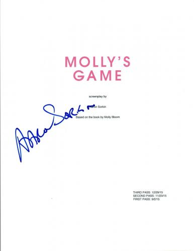 Aaron Sorkin Signed Autographed MOLLY'S GAME Full Movie Script COA AB