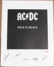 AC/DC 5x Band signed Album Cover 22x28 A/P Print Back in Black PSA/DNA /50