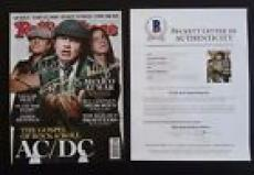 AC/DC Angus Malcolm Brian Signed Autograph Rolling Stone Magazine BAS Certified