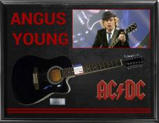 Ac/Dc Angus Young Autographed Signed Acoustic Guitar + Display Psa/Dna AFTAL