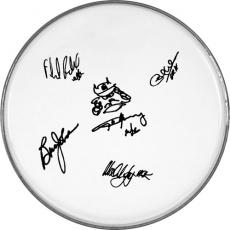 AC/DC Angus Young Autographed Facsimile Signed Clear Drumhead Plus Sketch