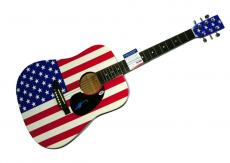 Ac/Dc Angus Young Autographed Usa Flag Acoustic Guitar Psa/Dna