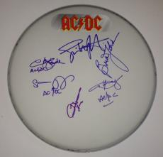 AC/DC Angus Young Brian Johnson GROUP Signed Remo DRUMHEAD w/ PSA DNA ac dc