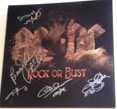 AC/DC Angus Young Brian Johnson GROUP Signed ROCK OR BUST ALBUM w/ PSA DNA ac dc