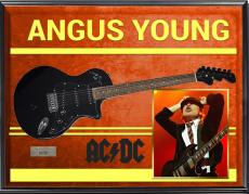 AC/DC Angus Young Cliff Williams Signed Black Guitar + Display & Exact Video Pro