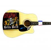 AC/DC Angus Young Signed Natural Acoustic ACDC Hells Bells Airbrushed Guitar PSA