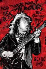 AC/DC Autographed Facsimile Signed Angus Young For Those About To Rock Poster