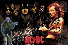 AC/DC Autographed Facsimile Signed Angus Young Montage Poster