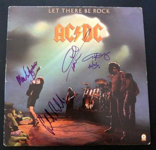 AC/DC Let There Rock Angus Malcolm Young Phil Cliff Signed  LP BAS Certified