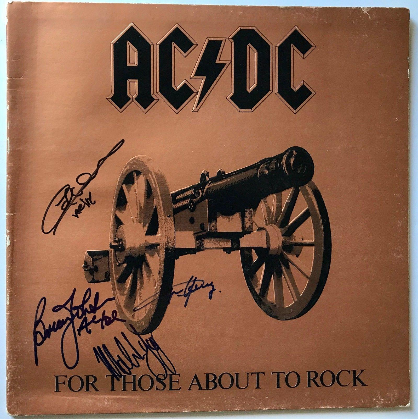 AC/DC signed album ftatr angus malcolm young autographed group ac dc  beckett loa
