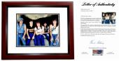 AC/DC Signed - Autographed 11x14 inch Photo MAHOGANY CUSTOM FRAME signed by Angus Young, Malcolm Young, and Phil Rudd - PSA/DNA FULL Letter of Authenticity
