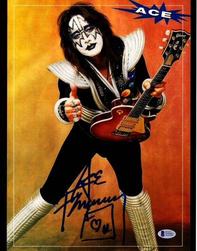 """ACE FREHLEY Signed Autographed """"KISS"""" 11x14 Photo BECKETT BAS #D39007"""