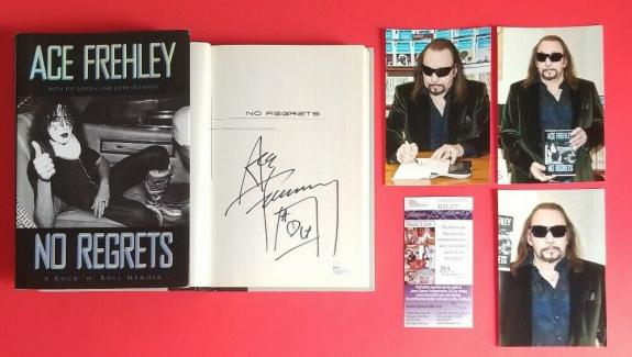 "ACE FREHLEY SIGNED BOOK ""NO REGRETS"" CERTIFIED WITH JSA COA AND 3 PHOTOS Kiss"