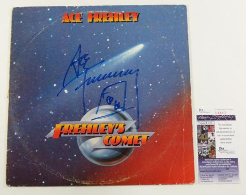 Ace Frehley Signed LP Record Album Frehley's Comet Kiss w/ JSA AUTO
